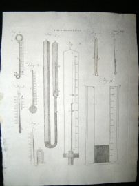 Science & Tech C1790 Antique Print. Thermometers 506